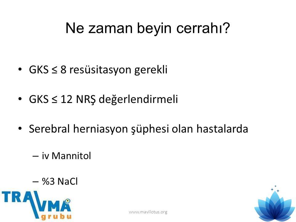 Ne zaman beyin cerrahı GKS ≤ 8 resüsitasyon gerekli