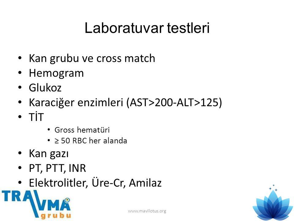 Laboratuvar testleri Kan grubu ve cross match Hemogram Glukoz
