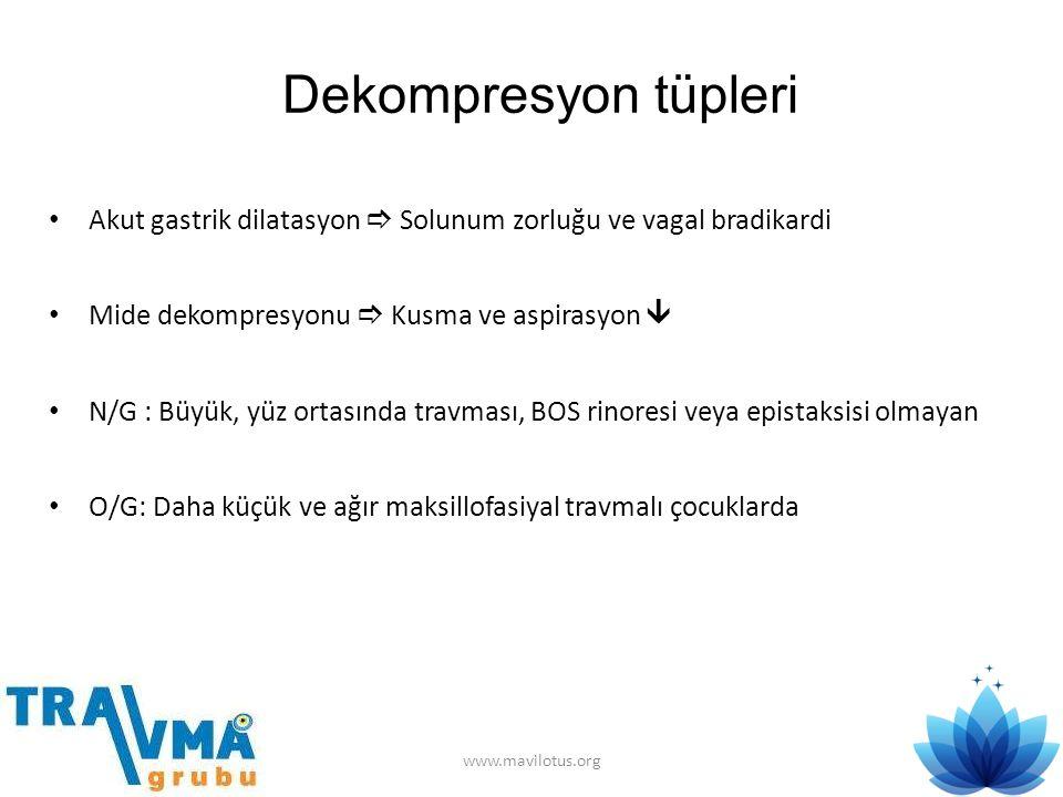 Dekompresyon tüpleri Akut gastrik dilatasyon  Solunum zorluğu ve vagal bradikardi. Mide dekompresyonu  Kusma ve aspirasyon 