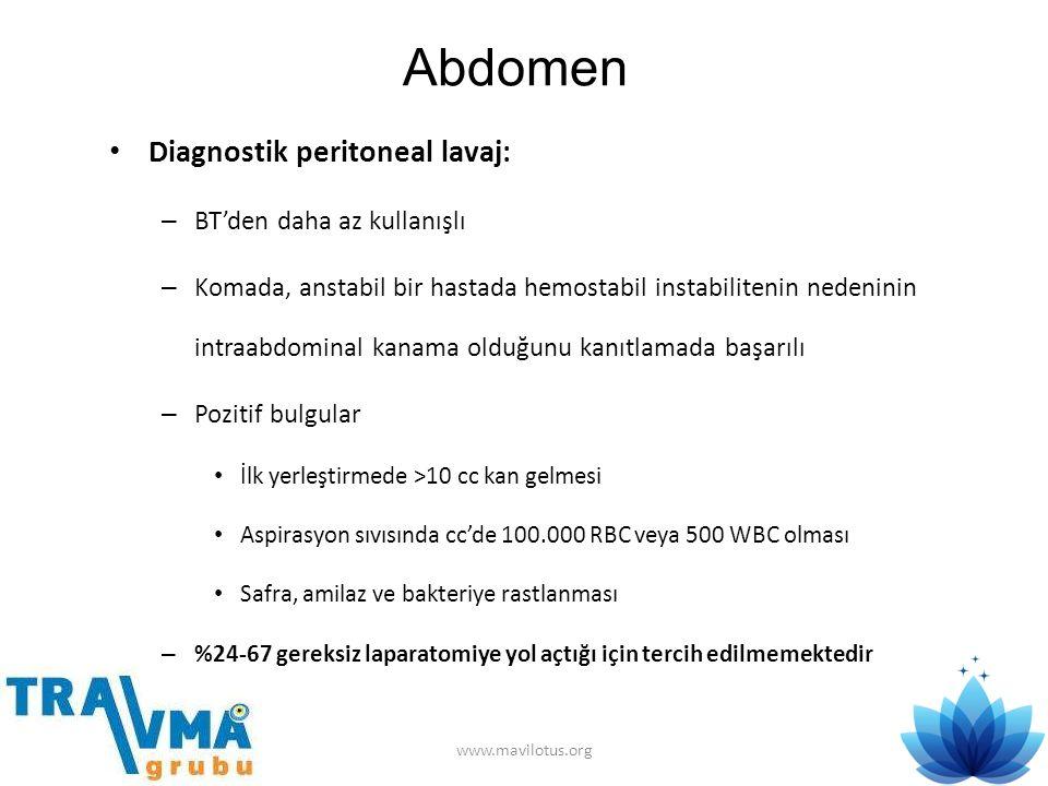 Abdomen Diagnostik peritoneal lavaj: BT'den daha az kullanışlı