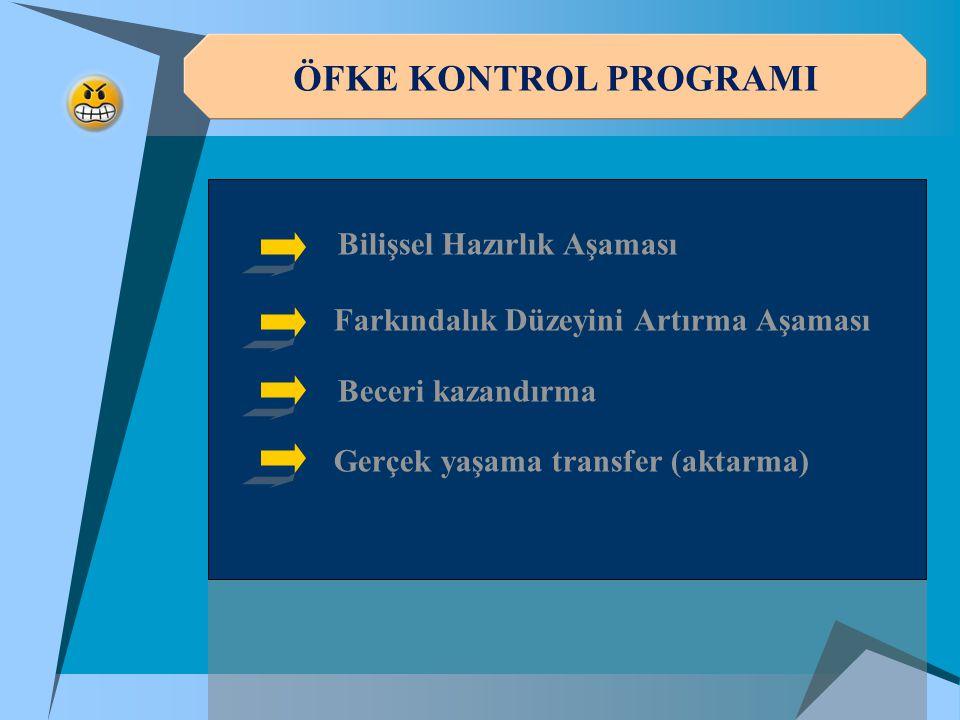 ÖFKE KONTROL PROGRAMI Bilişsel Hazırlık Aşaması