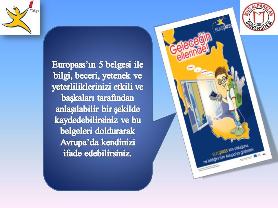Europass'ın 5 belgesi ile bilgi, beceri, yetenek ve yeterliliklerinizi etkili ve başkaları tarafından anlaşılabilir bir şekilde kaydedebilirsiniz ve bu belgeleri doldurarak Avrupa'da kendinizi ifade edebilirsiniz.