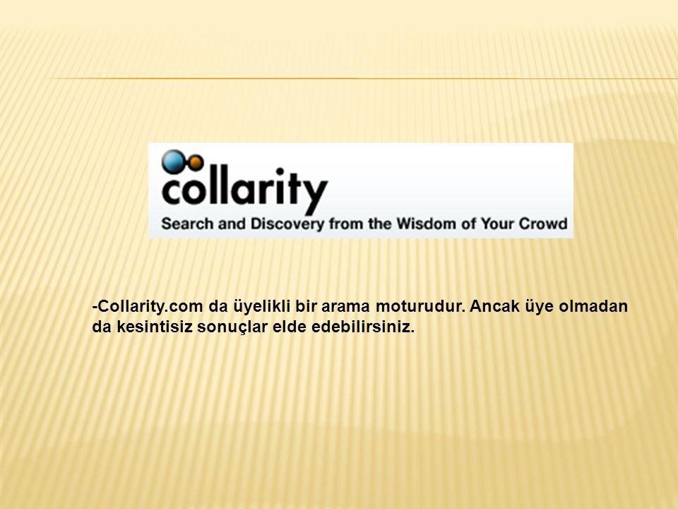 -Collarity. com da üyelikli bir arama moturudur