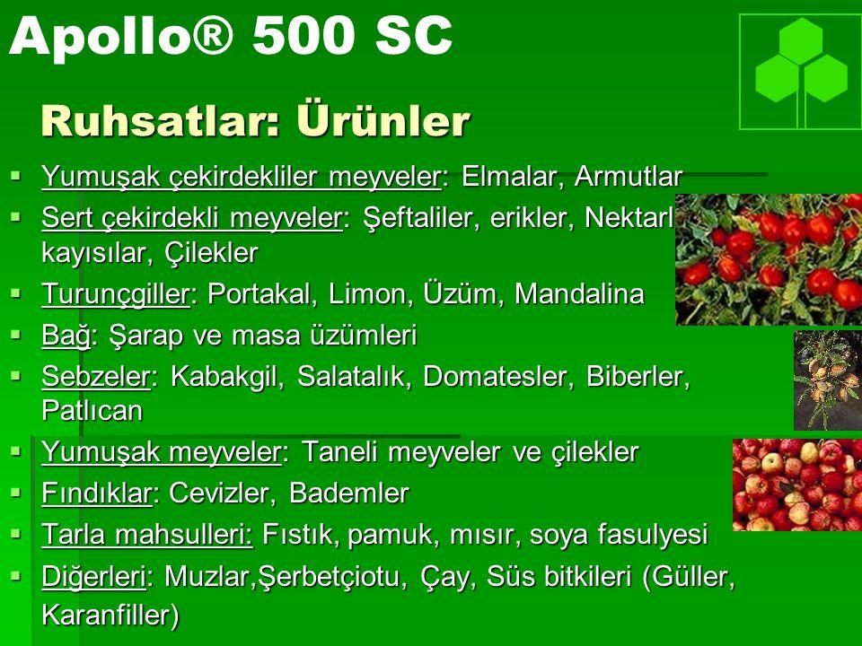 Apollo® 500 SC Ruhsatlar: Ürünler