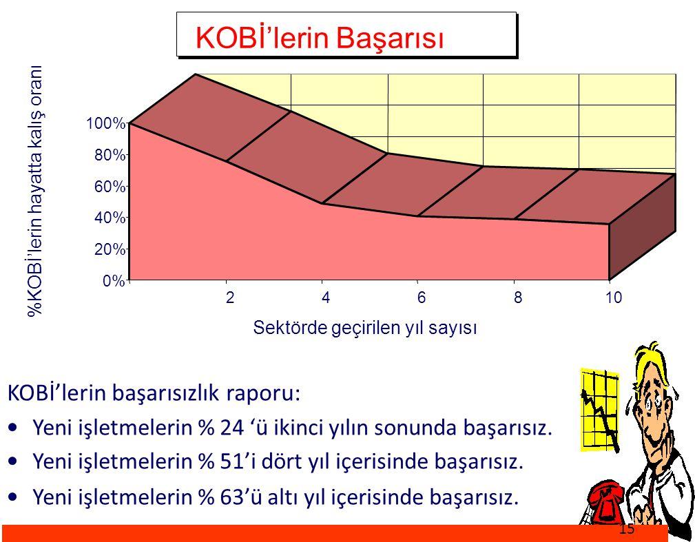 KOBİ'lerin Başarısı KOBİ'lerin başarısızlık raporu: