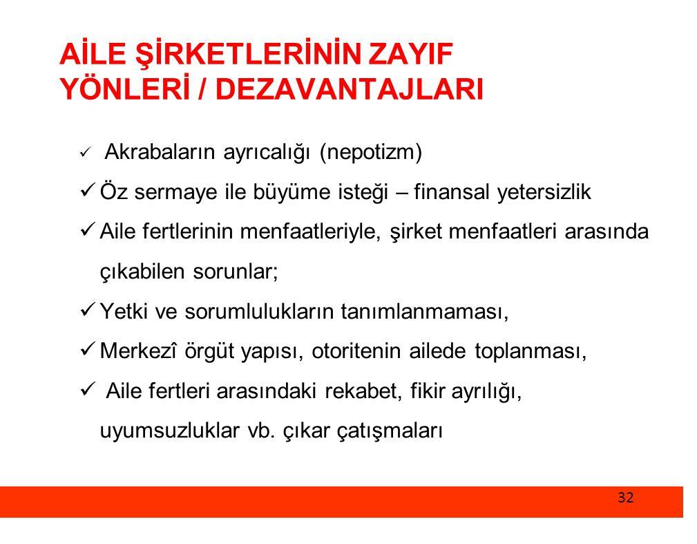 AİLE ŞİRKETLERİNİN ZAYIF YÖNLERİ / DEZAVANTAJLARI