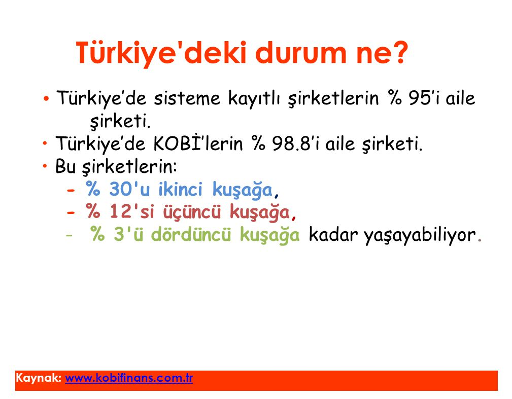 Türkiye deki durum ne • Türkiye'de KOBİ'lerin % 98.8'i aile şirketi.