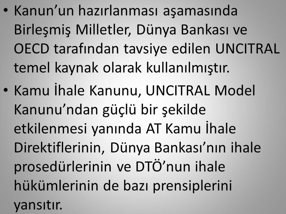 Kanun'un hazırlanması aşamasında Birleşmiş Milletler, Dünya Bankası ve OECD tarafından tavsiye edilen UNCITRAL temel kaynak olarak kullanılmıştır.