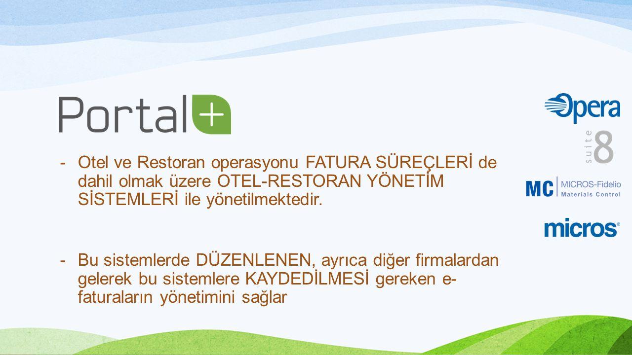 Otel ve Restoran operasyonu FATURA SÜREÇLERİ de dahil olmak üzere OTEL-RESTORAN YÖNETİM SİSTEMLERİ ile yönetilmektedir.