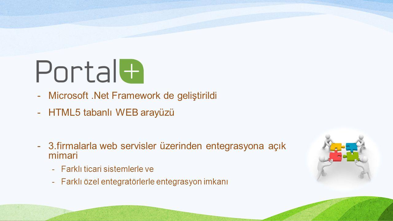 Microsoft .Net Framework de geliştirildi HTML5 tabanlı WEB arayüzü