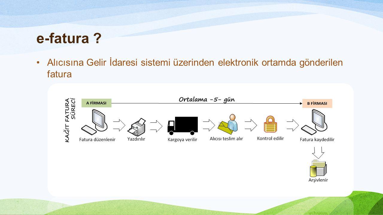 e-fatura Alıcısına Gelir İdaresi sistemi üzerinden elektronik ortamda gönderilen fatura.