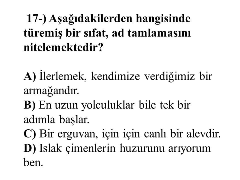 17-) Aşağıdakilerden hangisinde türemiş bir sıfat, ad tamlamasını nitelemektedir.