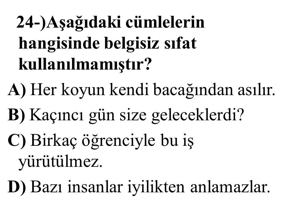 24-)Aşağıdaki cümlelerin hangisinde belgisiz sıfat kullanılmamıştır