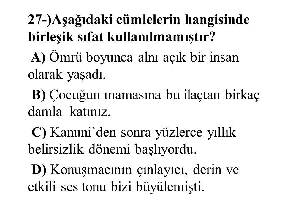 27-)Aşağıdaki cümlelerin hangisinde birleşik sıfat kullanılmamıştır