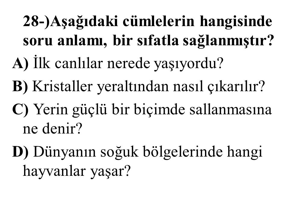 28-)Aşağıdaki cümlelerin hangisinde soru anlamı, bir sıfatla sağlanmıştır.
