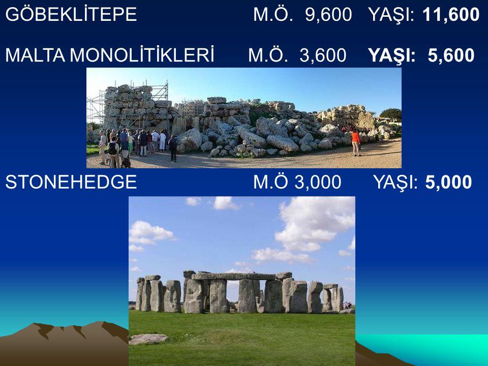 GÖBEKLİTEPE M.Ö. 9,600 YAŞI: 11,600 MALTA MONOLİTİKLERİ M.Ö. 3,600 YAŞI: 5,600.