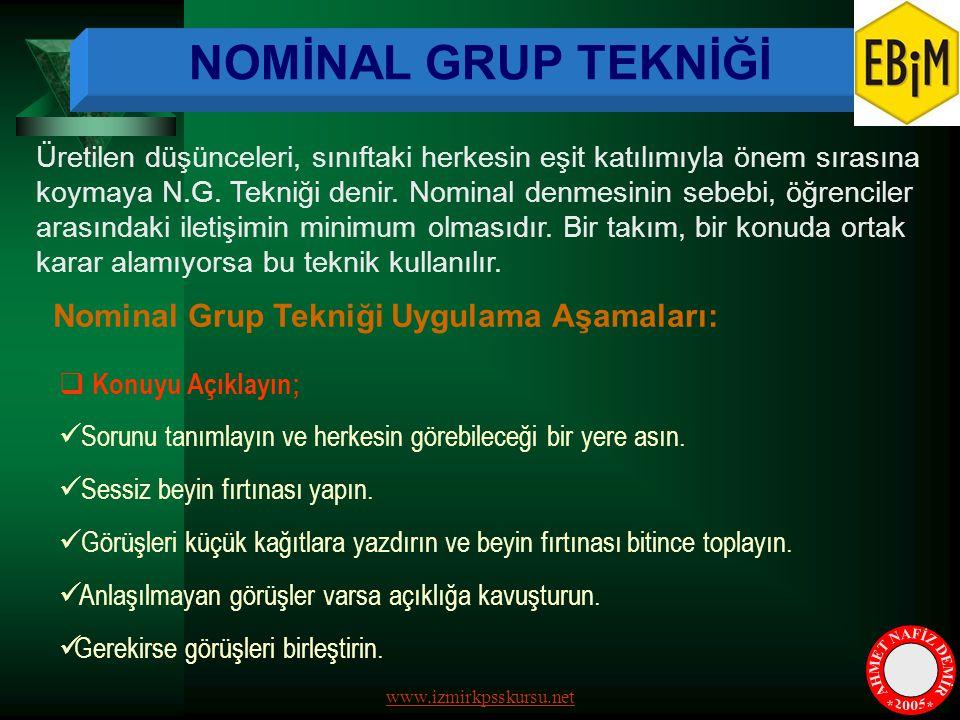 NOMİNAL GRUP TEKNİĞİ AHMET NAFİZ DEMİR * * 2005