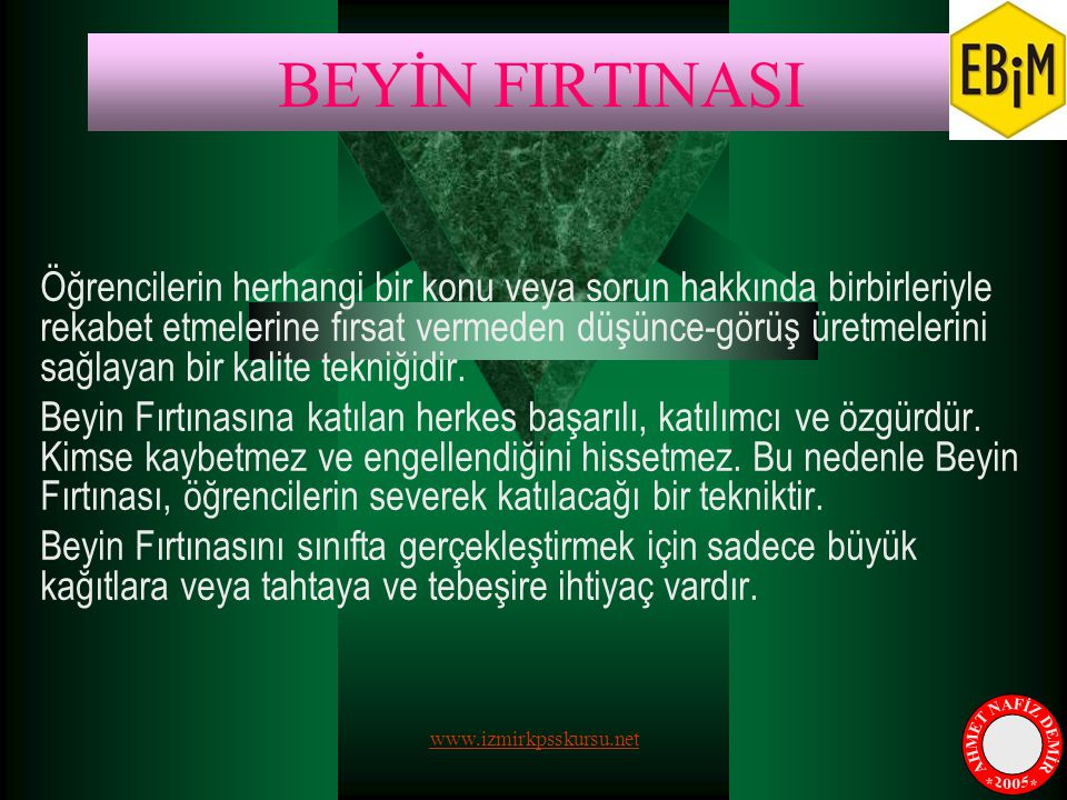 BEYİN FIRTINASI AHMET NAFİZ DEMİR * * 2005
