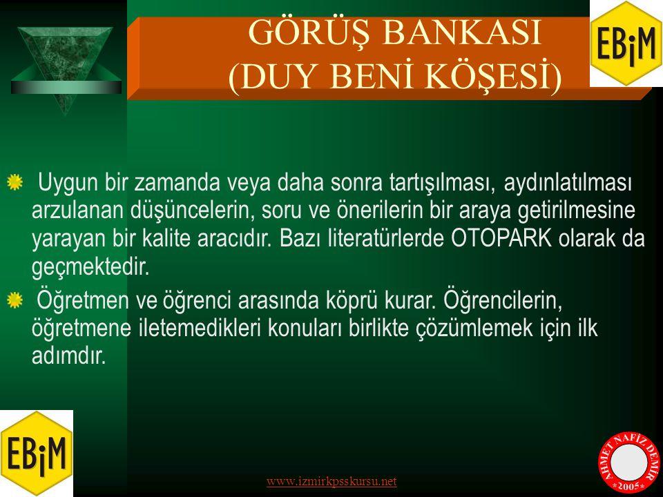 GÖRÜŞ BANKASI (DUY BENİ KÖŞESİ)