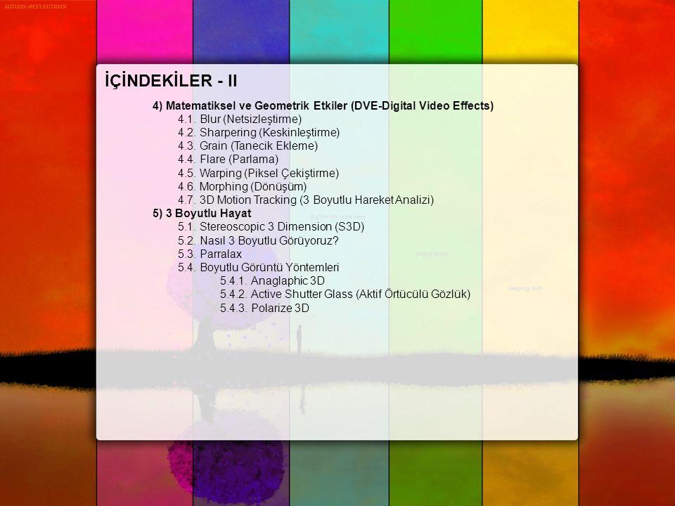 İÇİNDEKİLER - II 4) Matematiksel ve Geometrik Etkiler (DVE-Digital Video Effects) 4.1. Blur (Netsizleştirme)