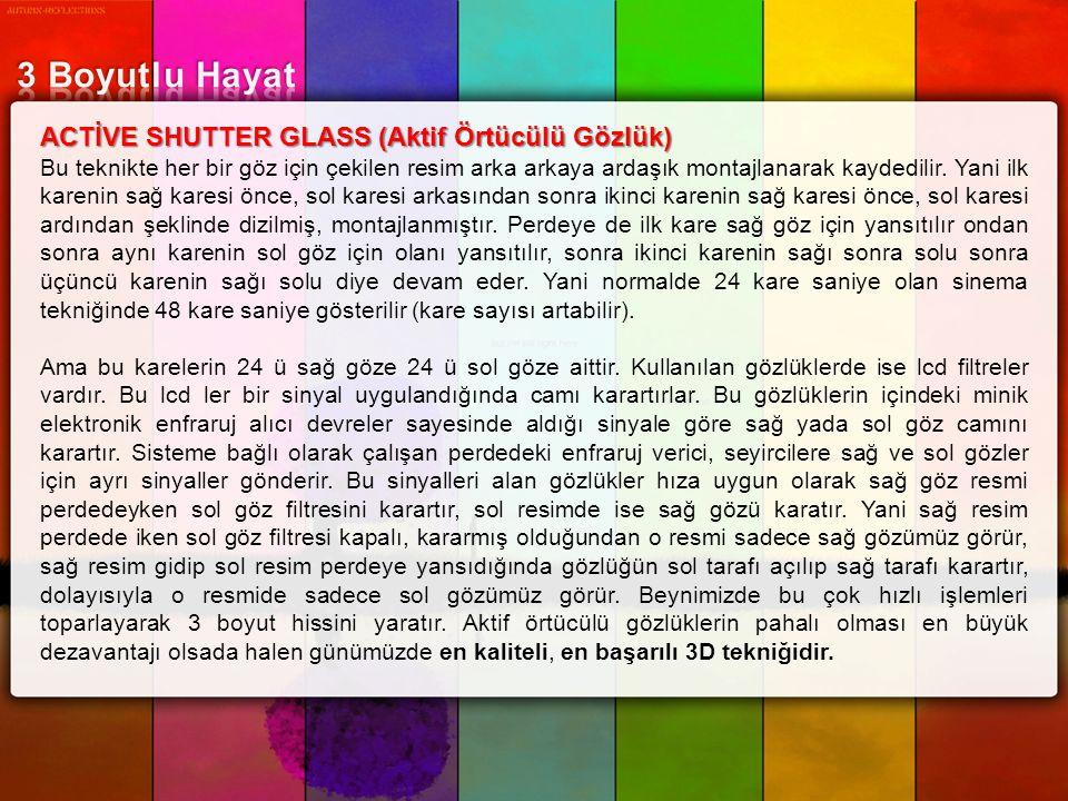 3 Boyutlu Hayat ACTİVE SHUTTER GLASS (Aktif Örtücülü Gözlük)