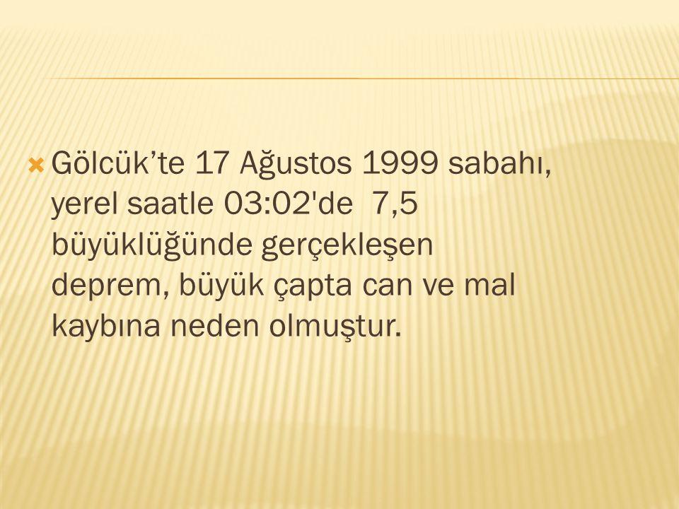 Gölcük'te 17 Ağustos 1999 sabahı, yerel saatle 03:02 de 7,5 büyüklüğünde gerçekleşen deprem, büyük çapta can ve mal kaybına neden olmuştur.