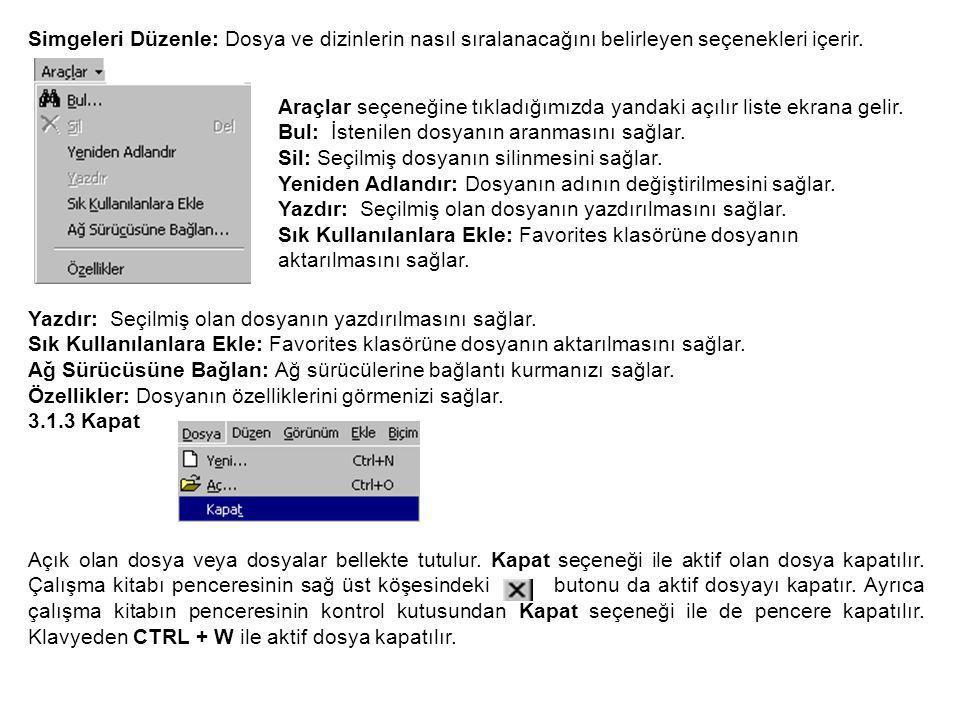 Simgeleri Düzenle: Dosya ve dizinlerin nasıl sıralanacağını belirleyen seçenekleri içerir.