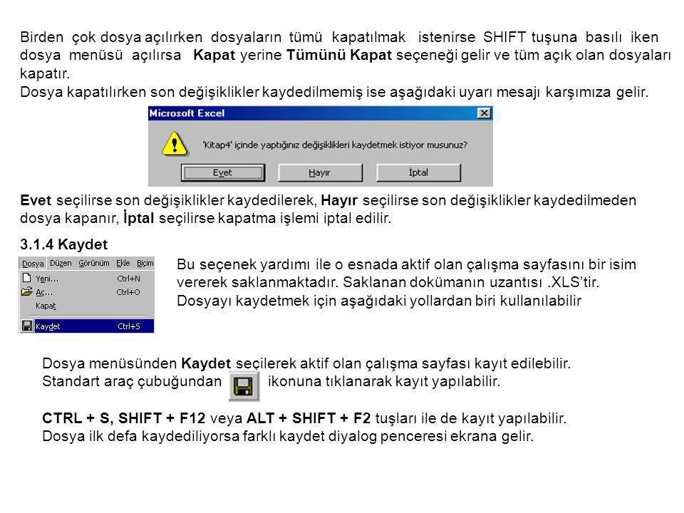 Birden çok dosya açılırken dosyaların tümü kapatılmak istenirse SHIFT tuşuna basılı iken dosya menüsü açılırsa Kapat yerine Tümünü Kapat seçeneği gelir ve tüm açık olan dosyaları kapatır.
