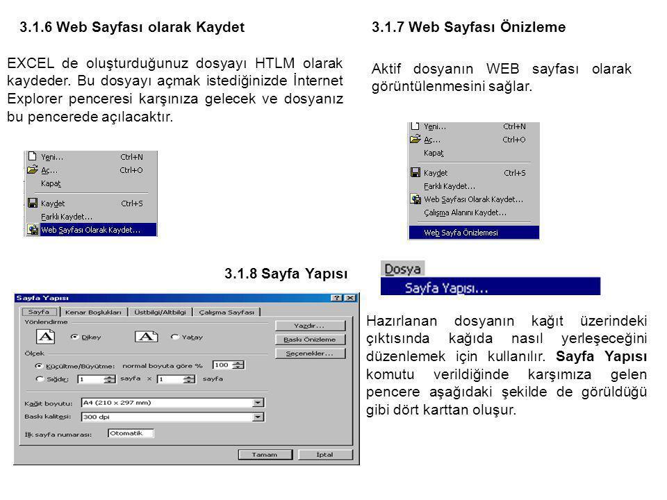 3.1.6 Web Sayfası olarak Kaydet