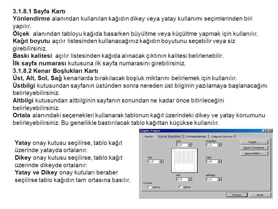 3.1.8.1 Sayfa Kartı Yönlendirme alanından kullanılan kağıdın dikey veya yatay kullanımı seçimlerinden biri yapılır.