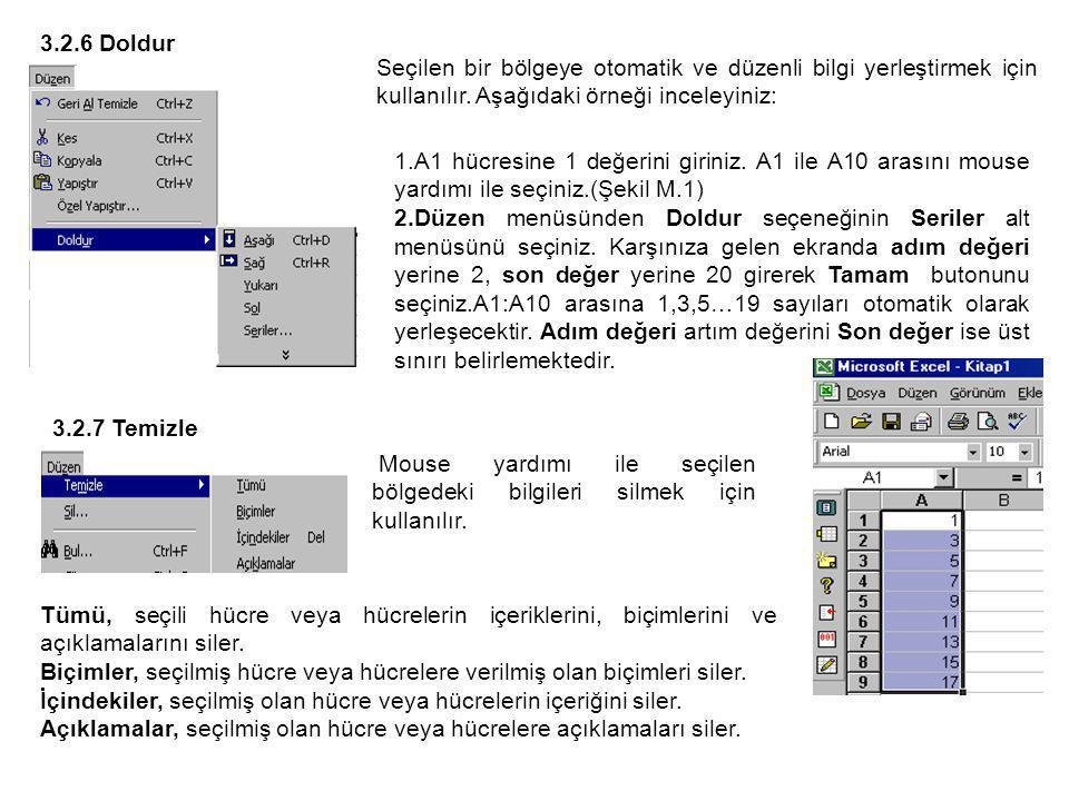 3.2.6 Doldur Seçilen bir bölgeye otomatik ve düzenli bilgi yerleştirmek için kullanılır. Aşağıdaki örneği inceleyiniz: