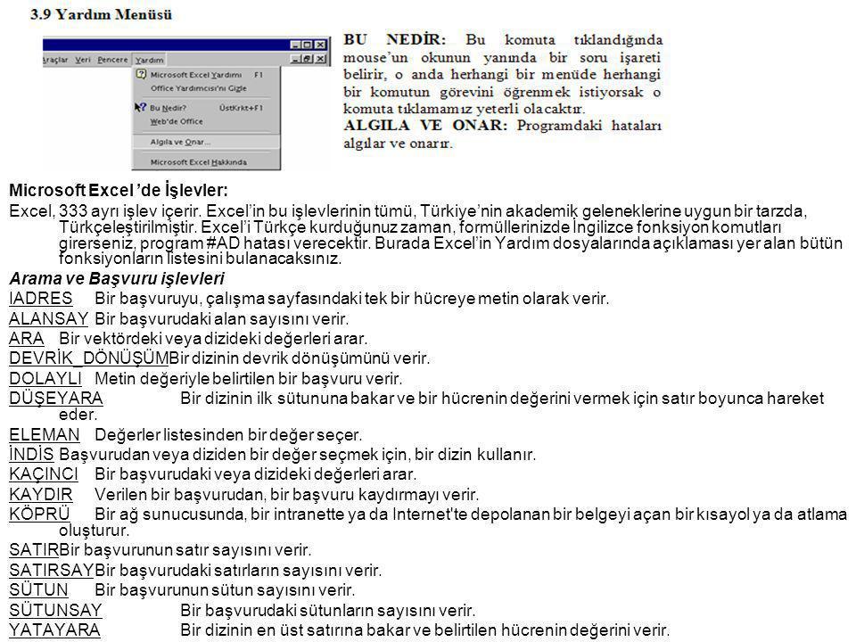 Microsoft Excel 'de İşlevler:
