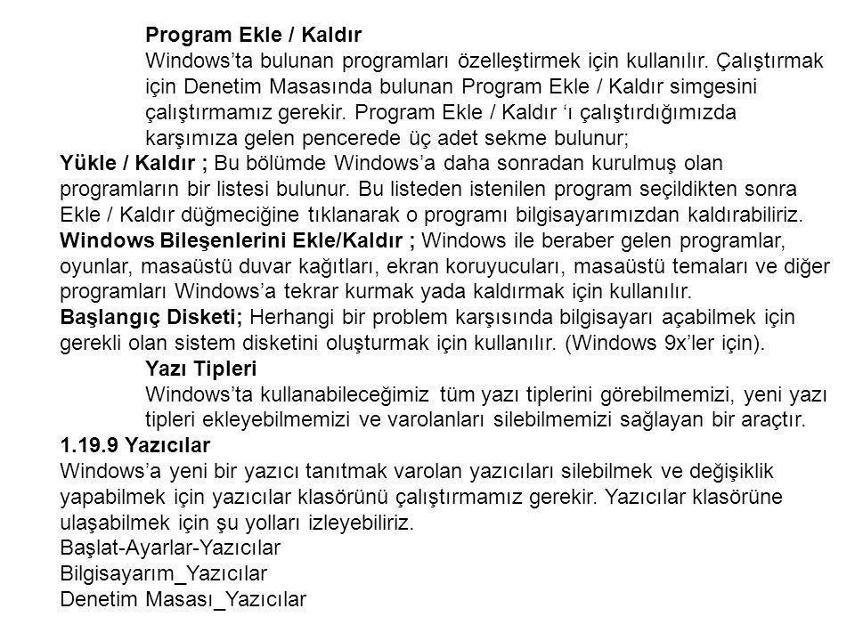 Program Ekle / Kaldır