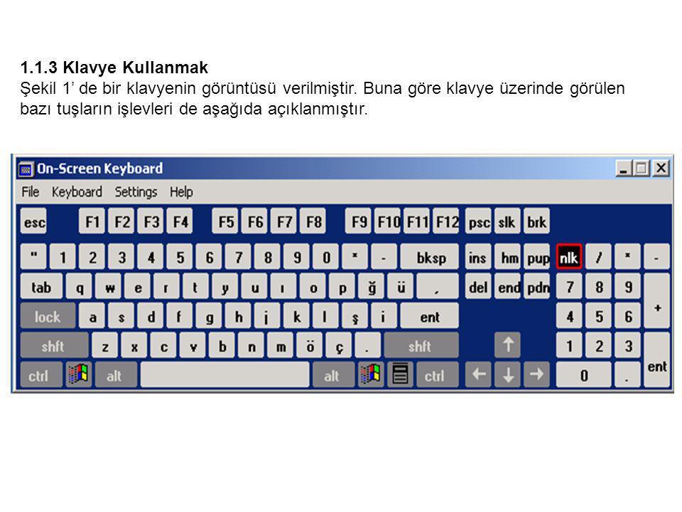 1.1.3 Klavye Kullanmak