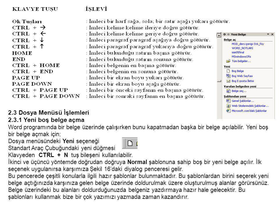 2.3 Dosya Menüsü İşlemleri 2.3.1 Yeni boş belge açma