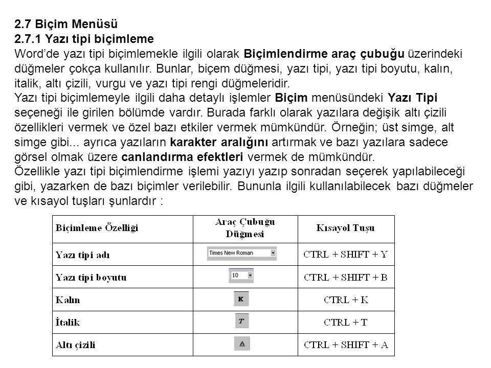 2.7 Biçim Menüsü 2.7.1 Yazı tipi biçimleme.