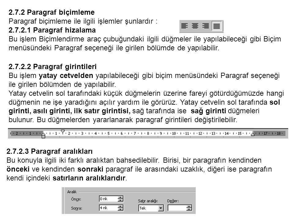 2.7.2 Paragraf biçimleme Paragraf biçimleme ile ilgili işlemler şunlardır : 2.7.2.1 Paragraf hizalama.