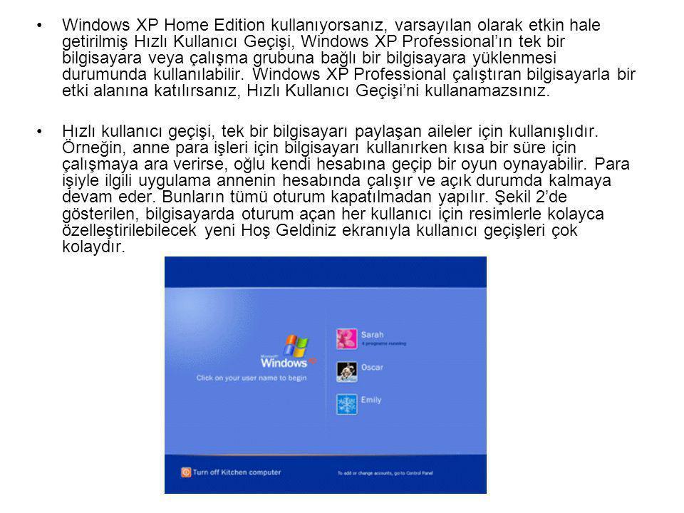 Windows XP Home Edition kullanıyorsanız, varsayılan olarak etkin hale getirilmiş Hızlı Kullanıcı Geçişi, Windows XP Professional'ın tek bir bilgisayara veya çalışma grubuna bağlı bir bilgisayara yüklenmesi durumunda kullanılabilir. Windows XP Professional çalıştıran bilgisayarla bir etki alanına katılırsanız, Hızlı Kullanıcı Geçişi'ni kullanamazsınız.