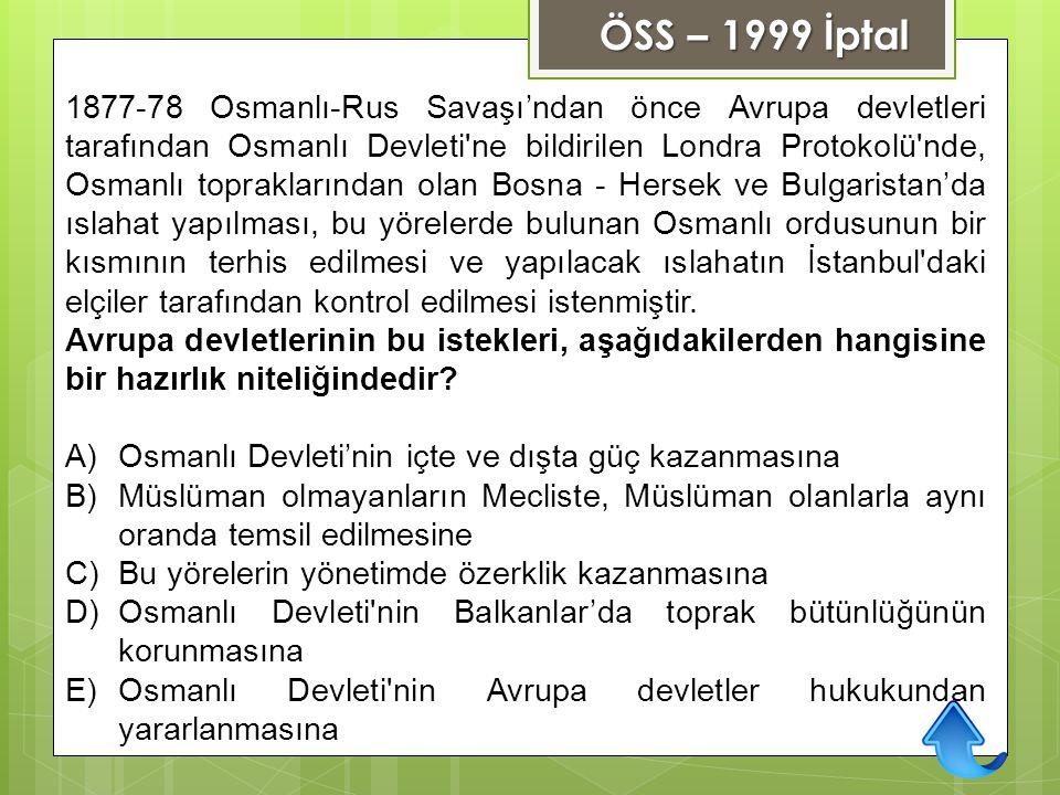 ÖSS – 1999 İptal