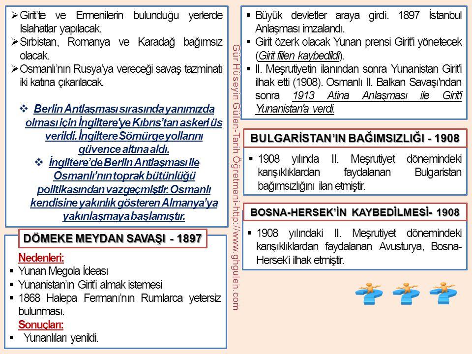 BULGARİSTAN'IN BAĞIMSIZLIĞI - 1908 BOSNA-HERSEK'İN KAYBEDİLMESİ- 1908