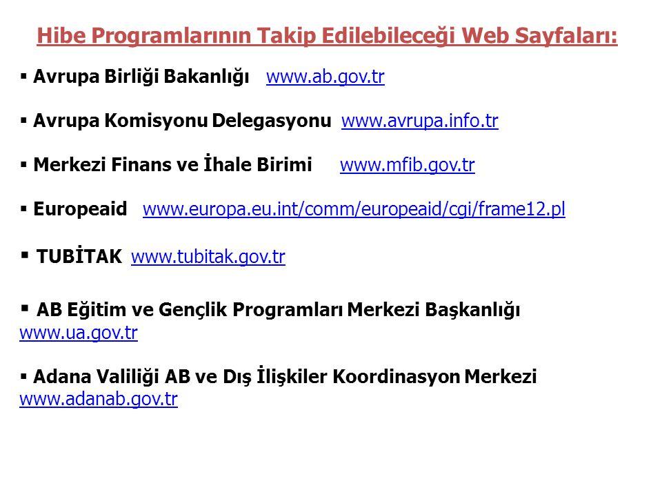 Hibe Programlarının Takip Edilebileceği Web Sayfaları:
