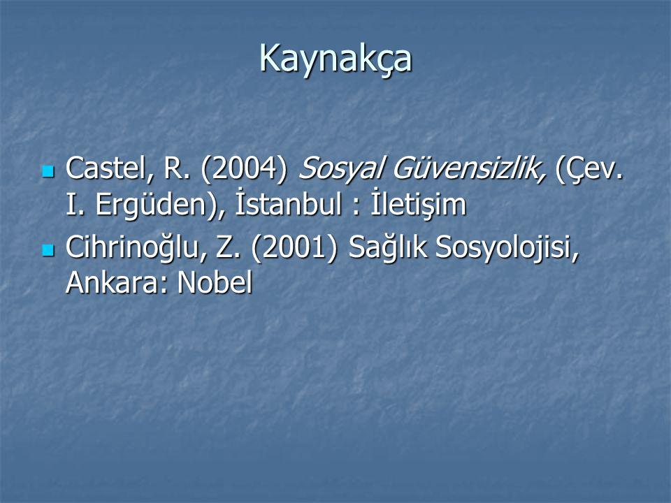 Kaynakça Castel, R. (2004) Sosyal Güvensizlik, (Çev.