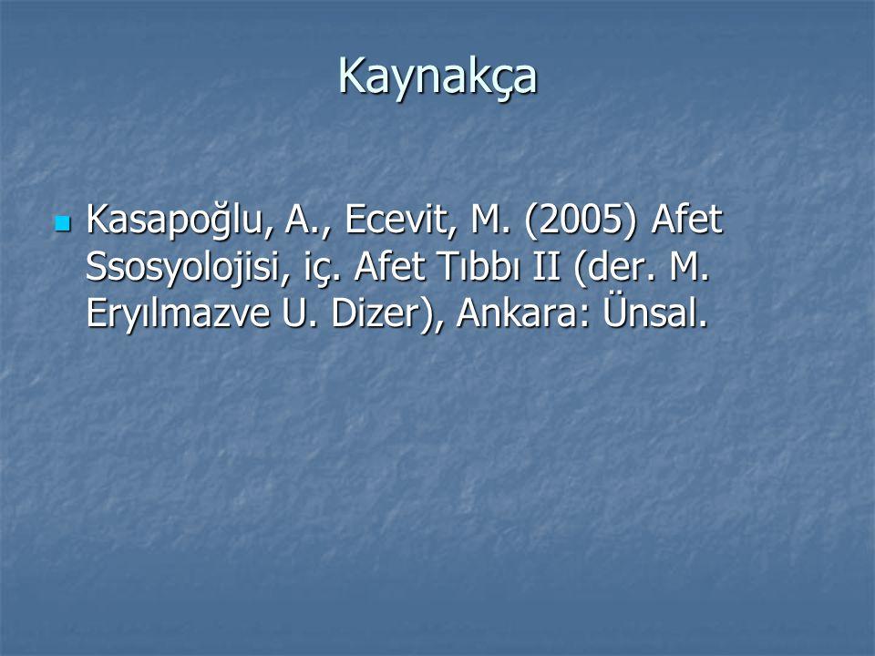 Kaynakça Kasapoğlu, A., Ecevit, M. (2005) Afet Ssosyolojisi, iç.