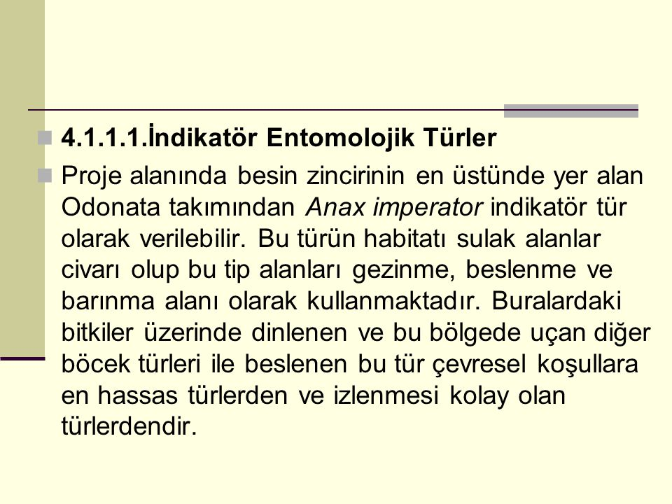 4.1.1.1.İndikatör Entomolojik Türler