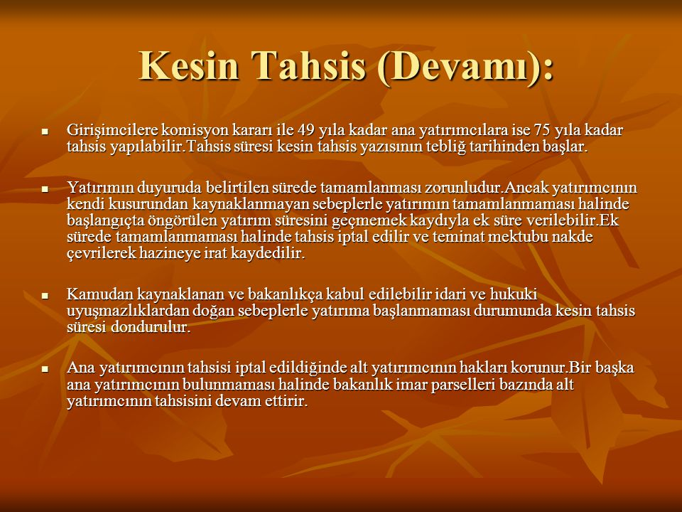 Kesin Tahsis (Devamı):