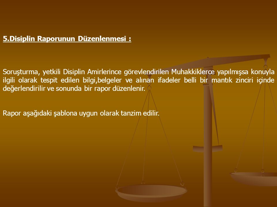 5.Disiplin Raporunun Düzenlenmesi :