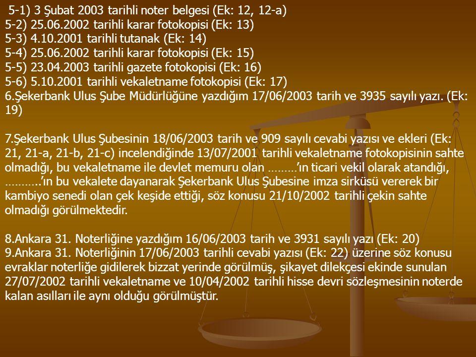 5-1) 3 Şubat 2003 tarihli noter belgesi (Ek: 12, 12-a)