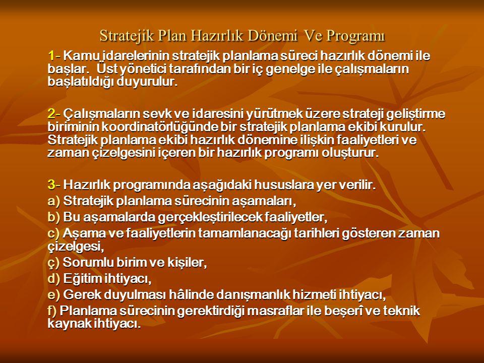 Stratejik Plan Hazırlık Dönemi Ve Programı