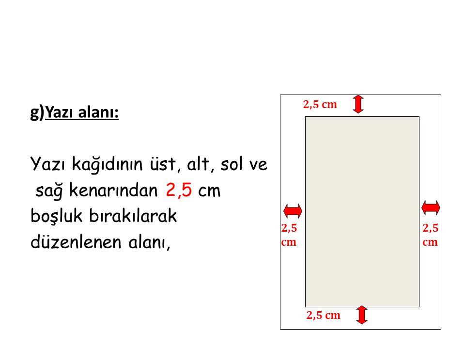 Yazı kağıdının üst, alt, sol ve sağ kenarından 2,5 cm