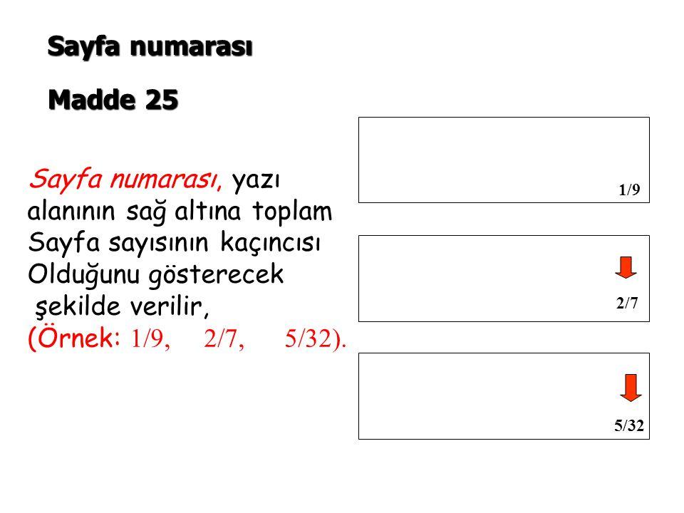 Sayfa numarası Madde 25.